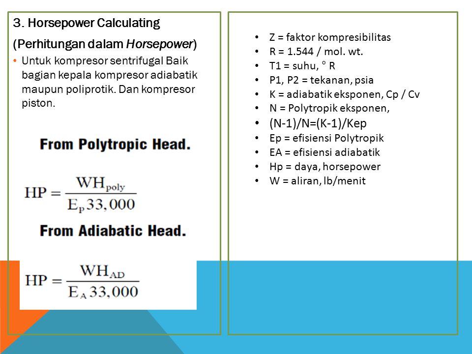 3. Horsepower Calculating (Perhitungan dalam Horsepower) Untuk kompresor sentrifugal Baik bagian kepala kompresor adiabatik maupun poliprotik. Dan kom