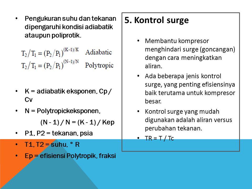 Pengukuran suhu dan tekanan dipengaruhi kondisi adiabatik ataupun poliprotik. K = adiabatik eksponen, Cp / Cv N = Polytropickeksponen, (N - 1) / N = (
