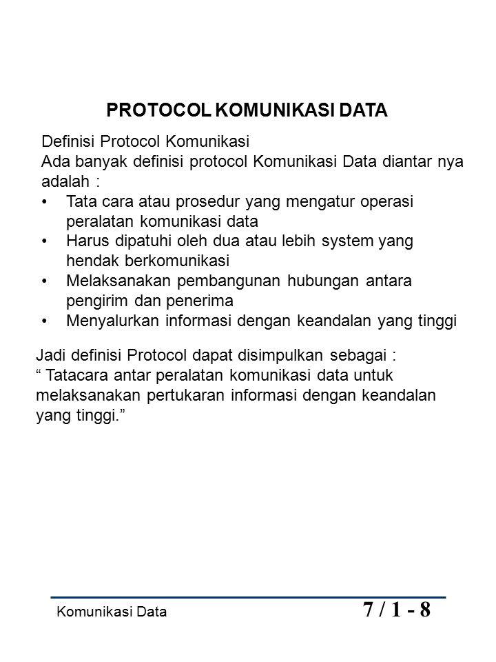 Komunikasi Data 7 / 2 - 8 Fungsi Protocol: 1.Fragmentation dan Reassambly 2.Encapsulation 3.Connection Contrrol 4.Flow Control 5.Error Contrrol 6.Syncronization 7.Aequencing 8.Addessing 9.Multiplexing 10.Transmision Service Protokol Model OSI (Open System Interconection) Dikeluarkan tahun 1978, oleh ISO (International Standard Organization), berisi sejumlah spesifikasi yang menguraikan arsitektur jaringan untuk menghubungkan perlatan yang tidak sejenis.