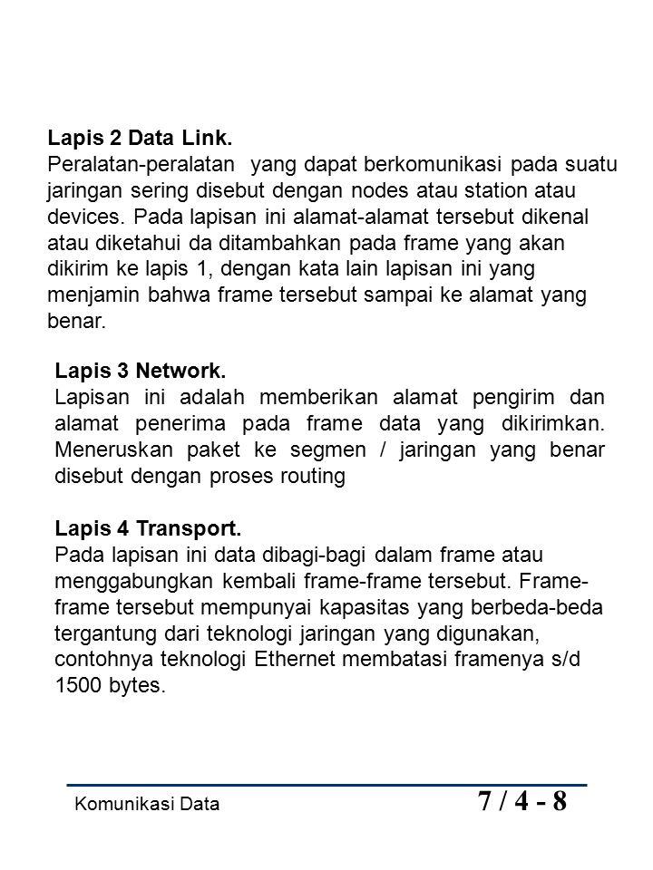 Komunikasi Data 7 / 5 - 8 Pembatasan ini menyangkut 2 (dua) alasan yaitu : 1.Banyak peralatan yang harus berbagi pakai jaringan, sehingga frame yang tidak terbatas akan memonopoli penggunaan jaringan.