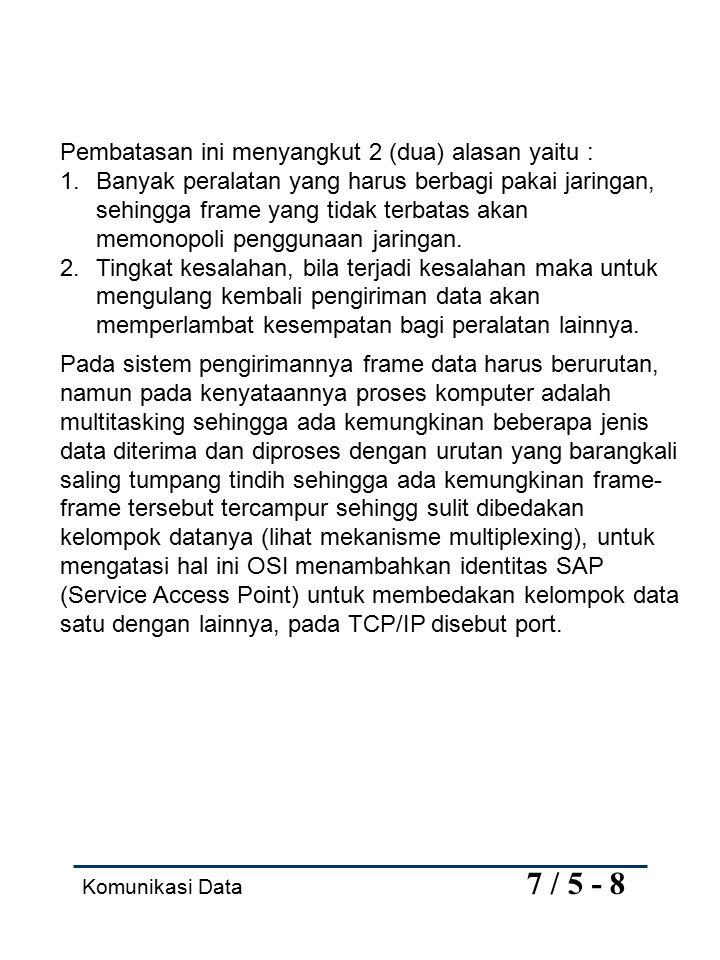 Komunikasi Data 7 / 6 - 8 Lapis 5 Session.