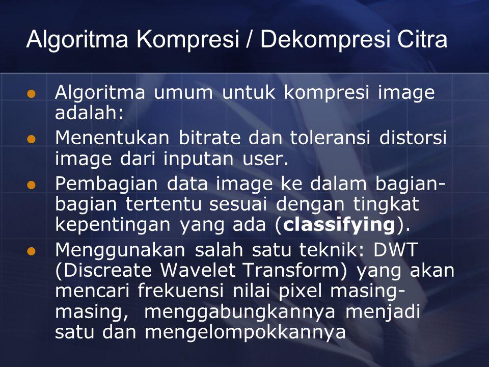 Algoritma Kompresi / Dekompresi Citra Algoritma umum untuk kompresi image adalah: Menentukan bitrate dan toleransi distorsi image dari inputan user. P