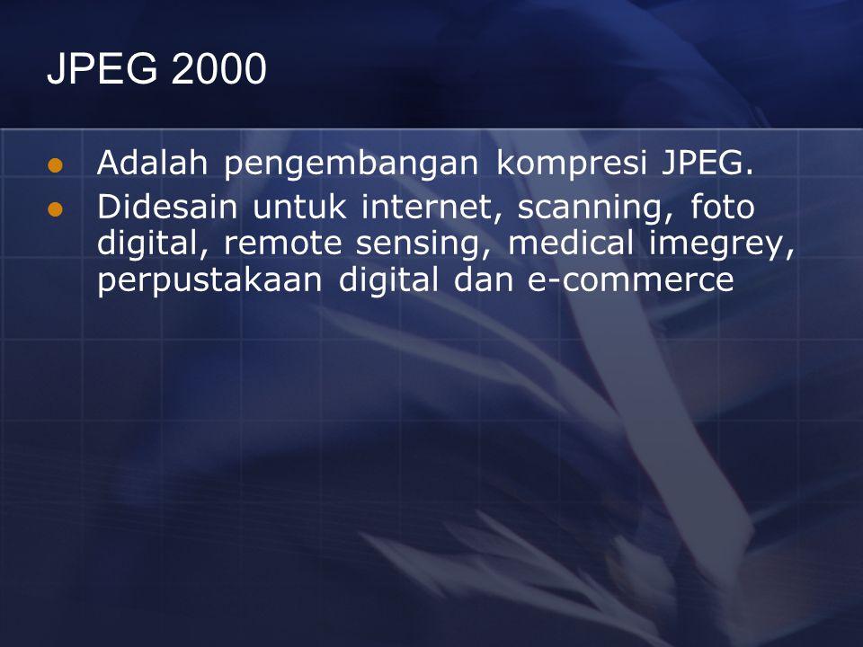 JPEG 2000 Adalah pengembangan kompresi JPEG. Didesain untuk internet, scanning, foto digital, remote sensing, medical imegrey, perpustakaan digital da