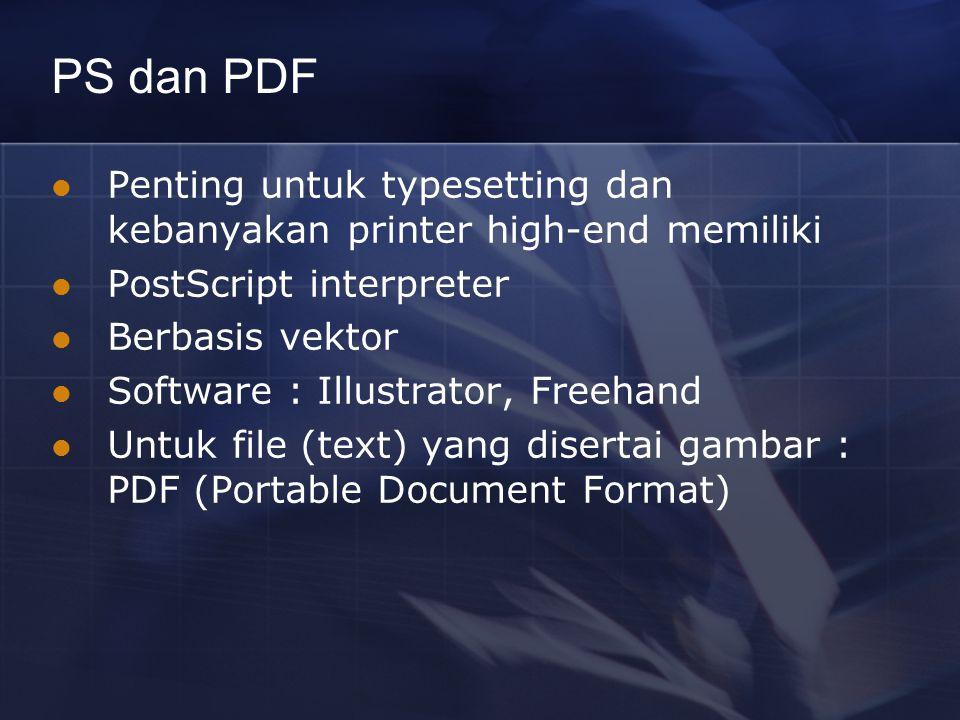 PS dan PDF Penting untuk typesetting dan kebanyakan printer high-end memiliki PostScript interpreter Berbasis vektor Software : Illustrator, Freehand