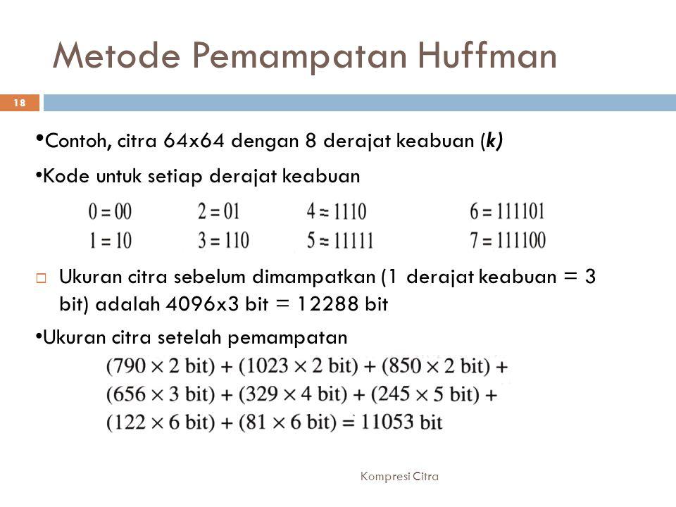 Metode Pemampatan Huffman Contoh, citra 64x64 dengan 8 derajat keabuan (k) Kode untuk setiap derajat keabuan  Ukuran citra sebelum dimampatkan (1 der