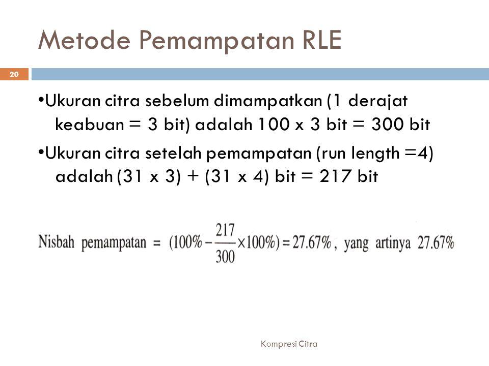 Metode Pemampatan RLE Ukuran citra sebelum dimampatkan (1 derajat keabuan = 3 bit) adalah 100 x 3 bit = 300 bit Ukuran citra setelah pemampatan (run l
