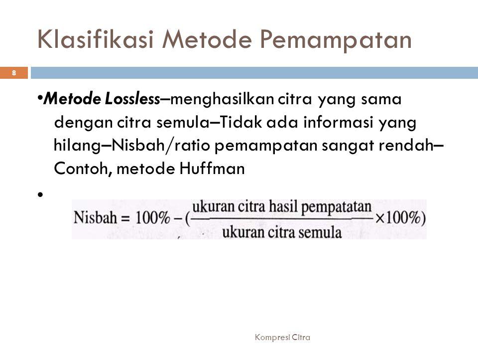 Klasifikasi Metode Pemampatan Metode Lossless–menghasilkan citra yang sama dengan citra semula–Tidak ada informasi yang hilang–Nisbah/ratio pemampatan