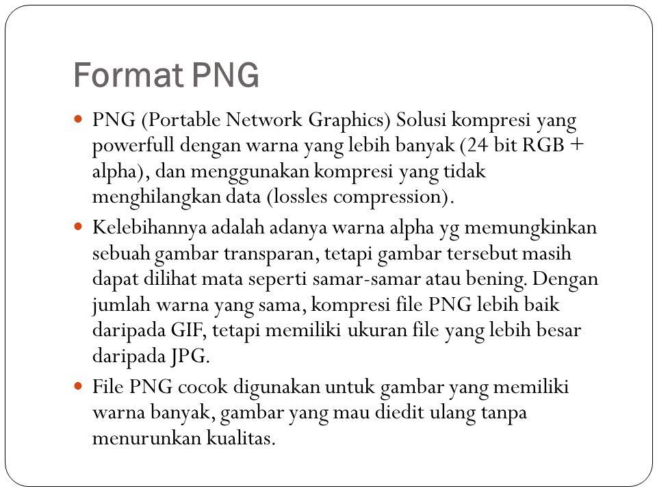 Format PNG PNG (Portable Network Graphics) Solusi kompresi yang powerfull dengan warna yang lebih banyak (24 bit RGB + alpha), dan menggunakan kompresi yang tidak menghilangkan data (lossles compression).