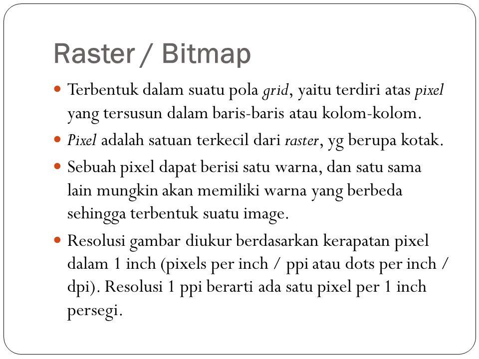 Raster / Bitmap Semakin besar resolusi, berarti semakin banyak pixel dalam sebuah gambar.