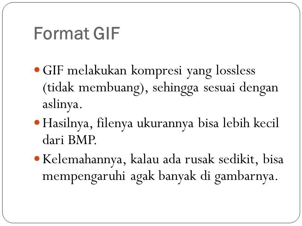 Format GIF GIF melakukan kompresi yang lossless (tidak membuang), sehingga sesuai dengan aslinya.