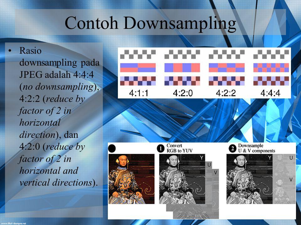 Teknik Kompresi Citra (3) Transform coding : menggunakan Fourier Transform seperti DCT (Discrete Cosine Transform).