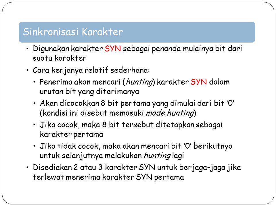 Sinkronisasi Karakter Digunakan karakter SYN sebagai penanda mulainya bit dari suatu karakter Cara kerjanya relatif sederhana: Penerima akan mencari (
