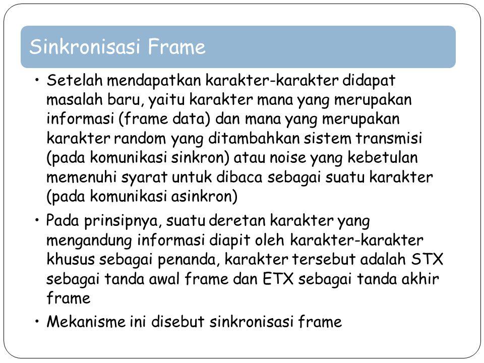 Sinkronisasi Frame Setelah mendapatkan karakter-karakter didapat masalah baru, yaitu karakter mana yang merupakan informasi (frame data) dan mana yang
