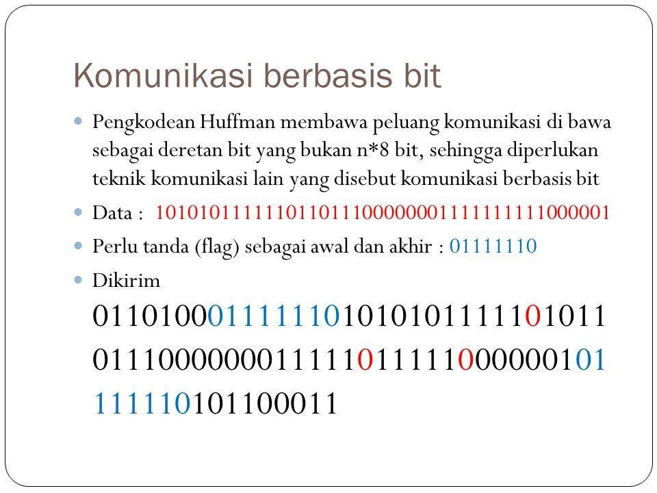 Komunikasi berbasis bit Pengkodean Huffman membawa peluang komunikasi di bawa sebagai deretan bit yang bukan n*8 bit, sehingga diperlukan teknik komun