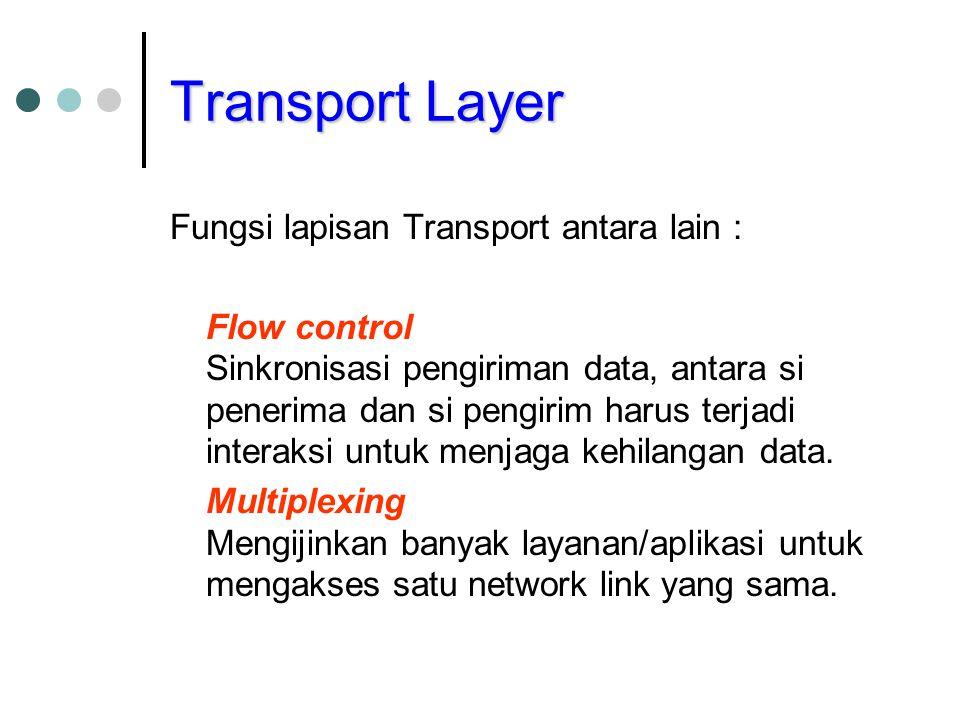 Transport Layer Fungsi lapisan Transport antara lain : Flow control Sinkronisasi pengiriman data, antara si penerima dan si pengirim harus terjadi int