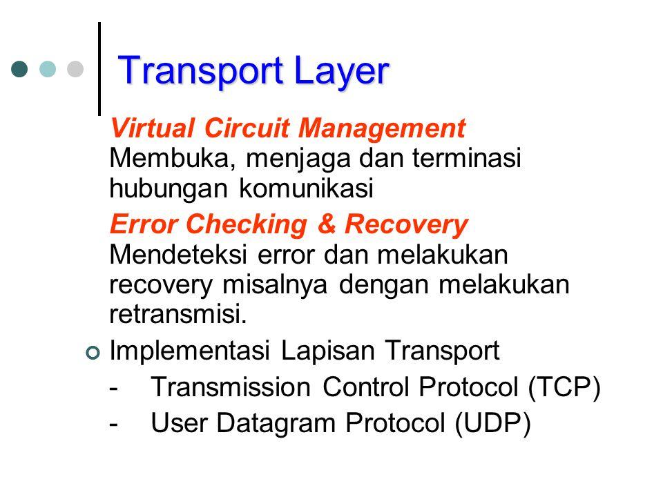 Transport Layer Virtual Circuit Management Membuka, menjaga dan terminasi hubungan komunikasi Error Checking & Recovery Mendeteksi error dan melakukan