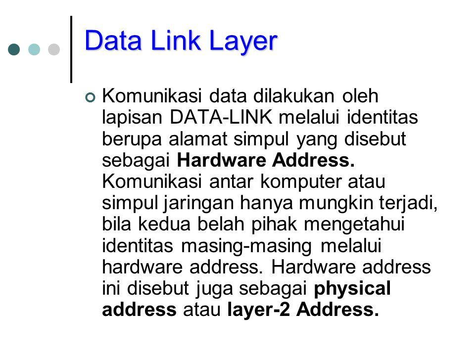Data Link Layer Komunikasi data dilakukan oleh lapisan DATA-LINK melalui identitas berupa alamat simpul yang disebut sebagai Hardware Address. Komunik