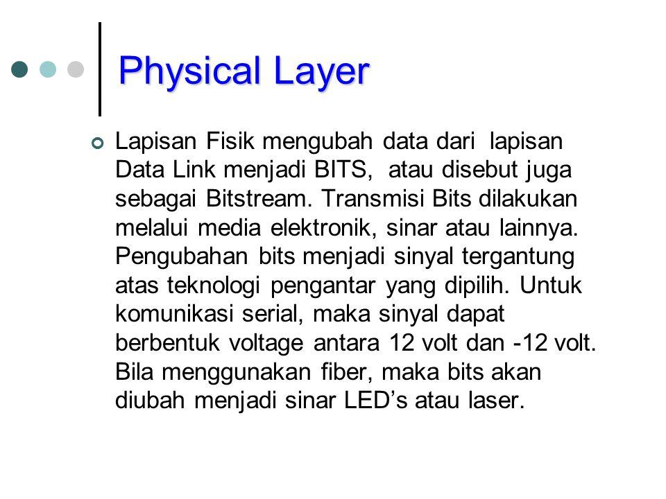 Physical Layer Lapisan Fisik mengubah data dari lapisan Data Link menjadi BITS, atau disebut juga sebagai Bitstream. Transmisi Bits dilakukan melalui