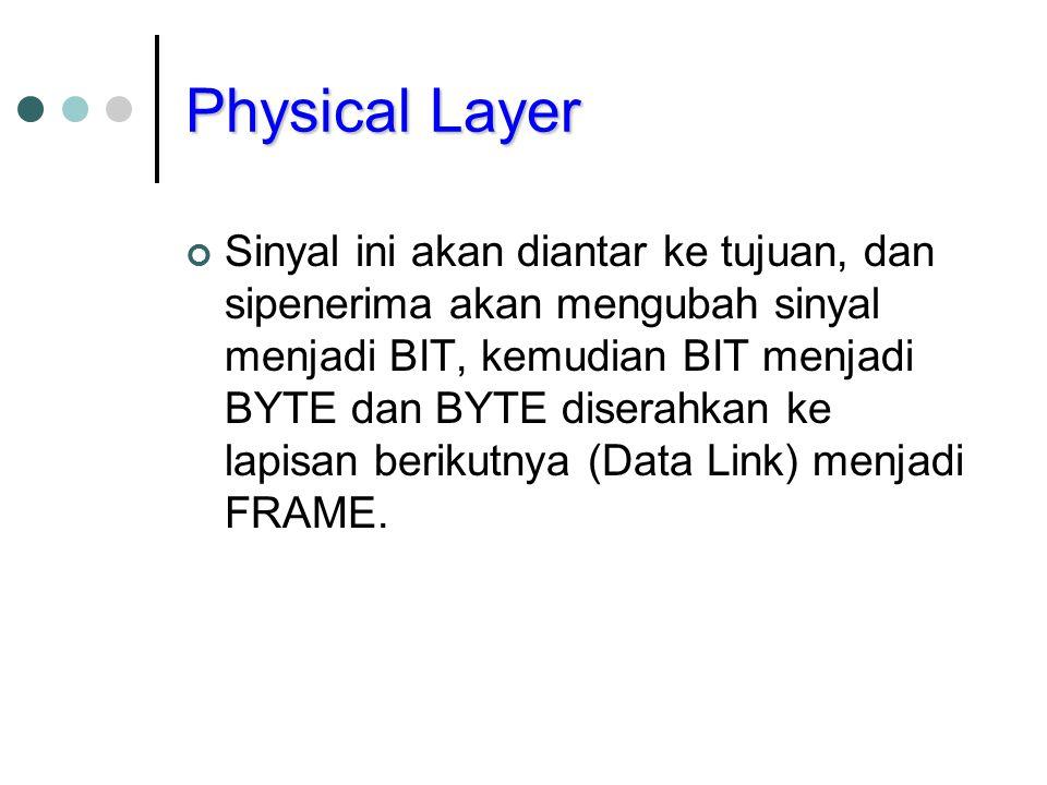 Physical Layer Sinyal ini akan diantar ke tujuan, dan sipenerima akan mengubah sinyal menjadi BIT, kemudian BIT menjadi BYTE dan BYTE diserahkan ke la