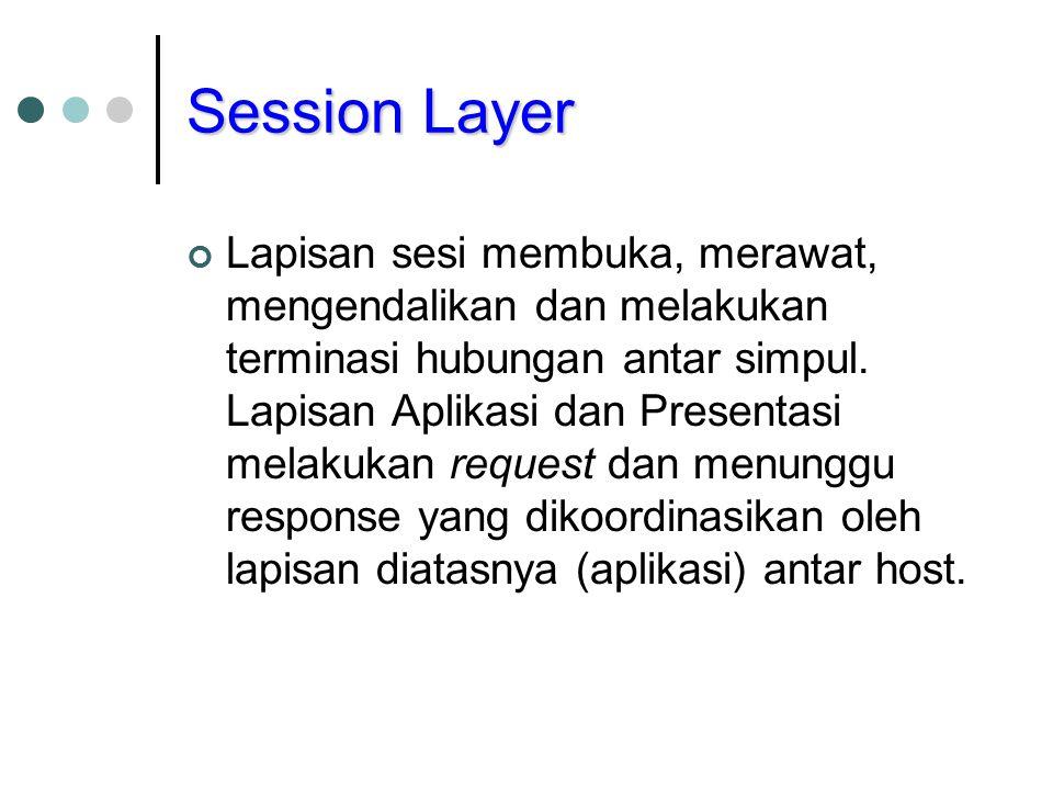 Session Layer Lapisan sesi membuka, merawat, mengendalikan dan melakukan terminasi hubungan antar simpul. Lapisan Aplikasi dan Presentasi melakukan re