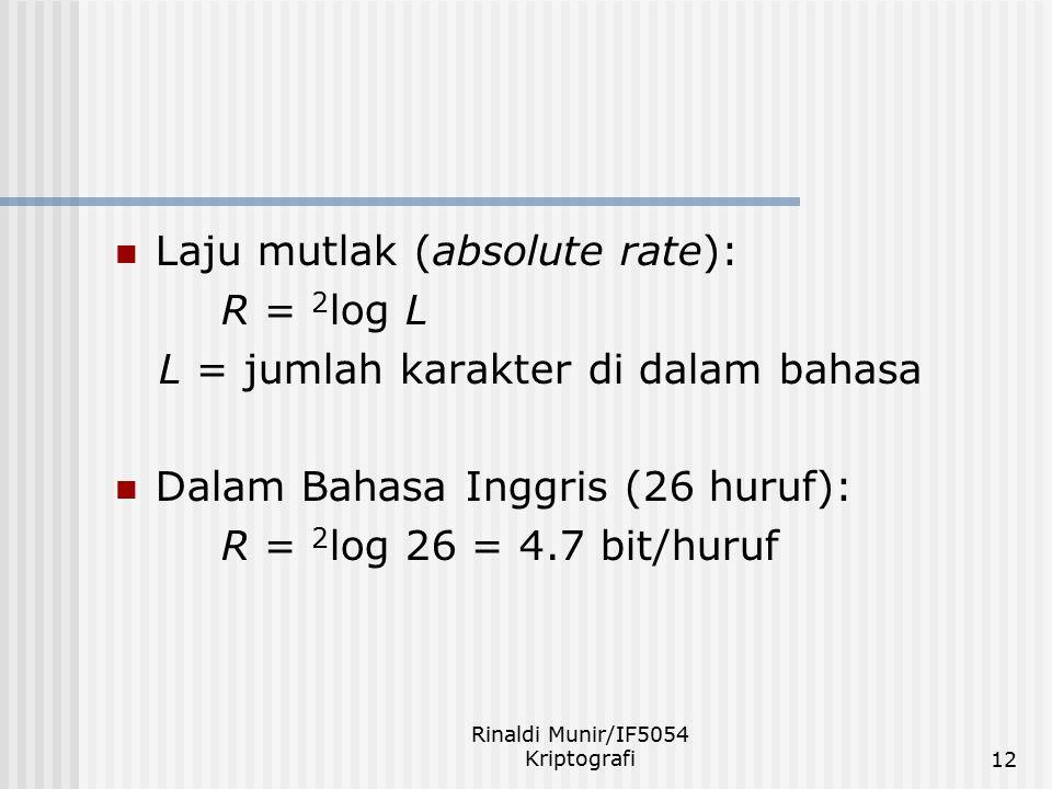 Rinaldi Munir/IF5054 Kriptografi12 Laju mutlak (absolute rate): R = 2 log L L = jumlah karakter di dalam bahasa Dalam Bahasa Inggris (26 huruf): R = 2