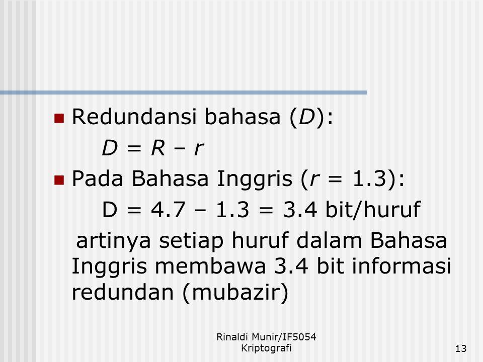 Rinaldi Munir/IF5054 Kriptografi13 Redundansi bahasa (D): D = R – r Pada Bahasa Inggris (r = 1.3): D = 4.7 – 1.3 = 3.4 bit/huruf artinya setiap huruf