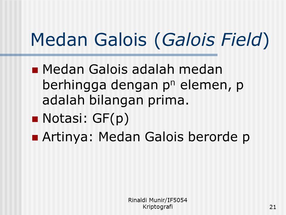 Rinaldi Munir/IF5054 Kriptografi21 Medan Galois (Galois Field) Medan Galois adalah medan berhingga dengan p n elemen, p adalah bilangan prima. Notasi: