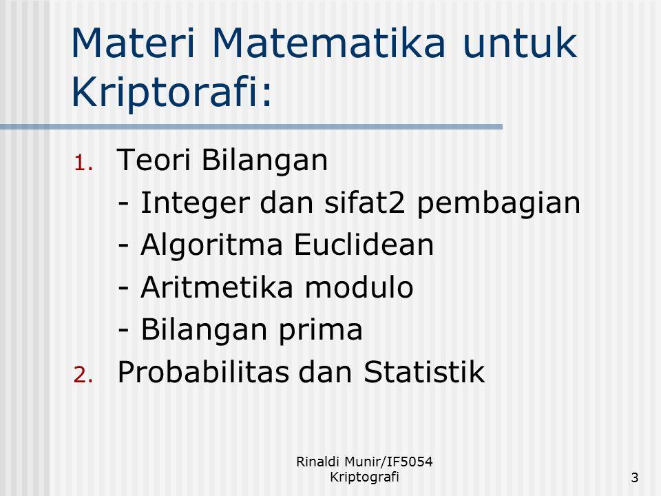 Rinaldi Munir/IF5054 Kriptografi3 Materi Matematika untuk Kriptorafi: 1. Teori Bilangan - Integer dan sifat2 pembagian - Algoritma Euclidean - Aritmet