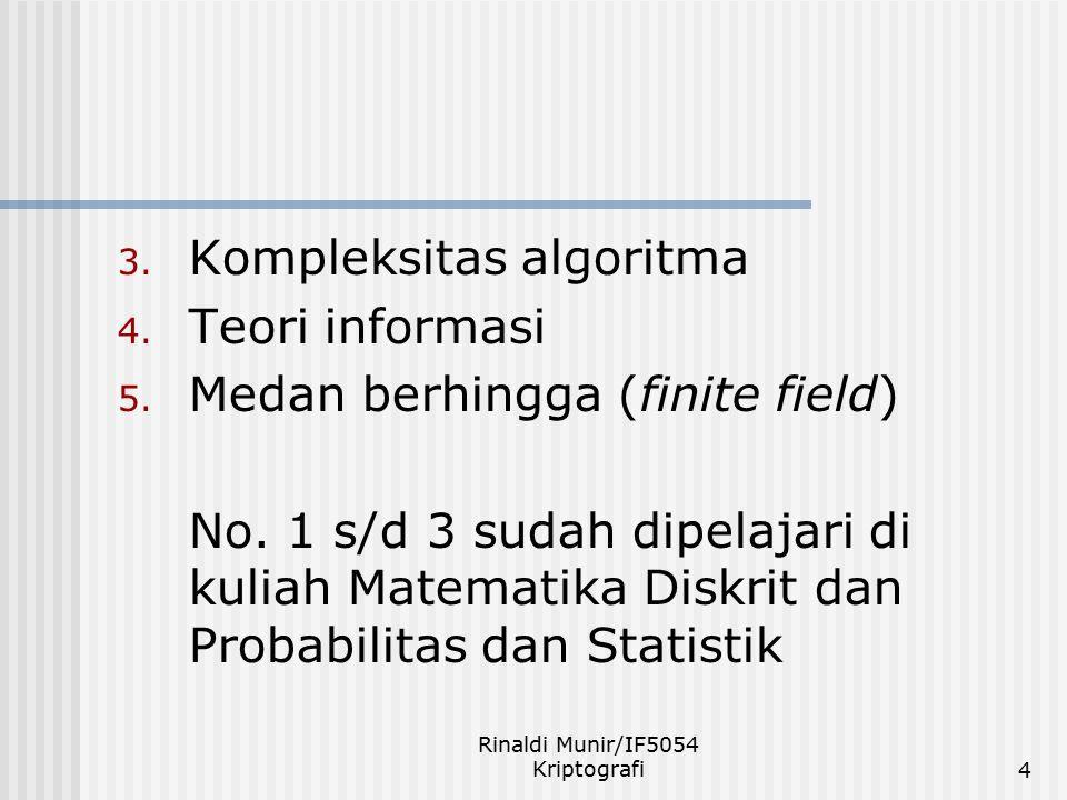 Rinaldi Munir/IF5054 Kriptografi4 3. Kompleksitas algoritma 4. Teori informasi 5. Medan berhingga (finite field) No. 1 s/d 3 sudah dipelajari di kulia