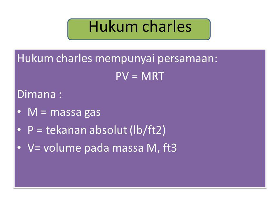 Hukum charles Hukum charles mempunyai persamaan: PV = MRT Dimana : M = massa gas P = tekanan absolut (lb/ft2) V= volume pada massa M, ft3 Hukum charles mempunyai persamaan: PV = MRT Dimana : M = massa gas P = tekanan absolut (lb/ft2) V= volume pada massa M, ft3