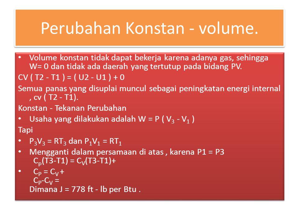 Perubahan Ishothermal Untuk hukum gas boyle sempurna itu berlaku : PV= C = a constant Asumsikan bahwa P dan V adalah nilai-nilai dari sebuah titik di sepanjang kurva di mana PV = C.