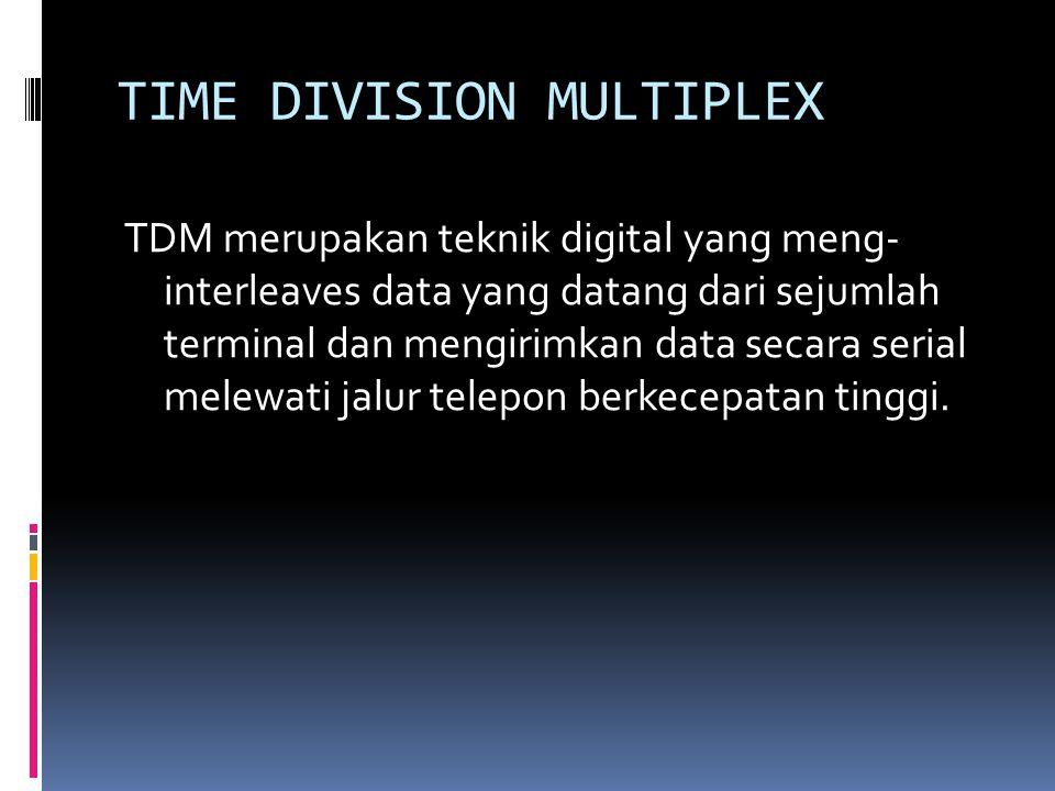 TIME DIVISION MULTIPLEX TDM merupakan teknik digital yang meng- interleaves data yang datang dari sejumlah terminal dan mengirimkan data secara serial melewati jalur telepon berkecepatan tinggi.