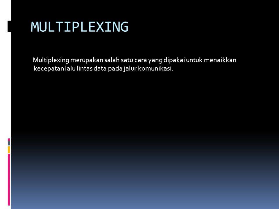 MULTIPLEXING Multiplexing merupakan salah satu cara yang dipakai untuk menaikkan kecepatan lalu lintas data pada jalur komunikasi.