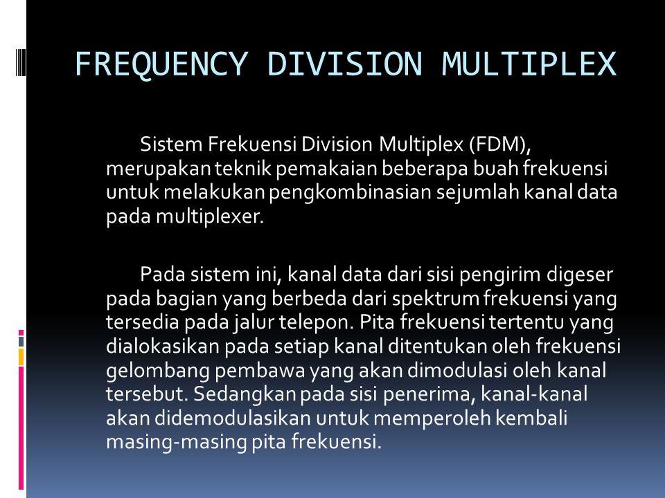 FREQUENCY DIVISION MULTIPLEX Sistem Frekuensi Division Multiplex (FDM), merupakan teknik pemakaian beberapa buah frekuensi untuk melakukan pengkombinasian sejumlah kanal data pada multiplexer.