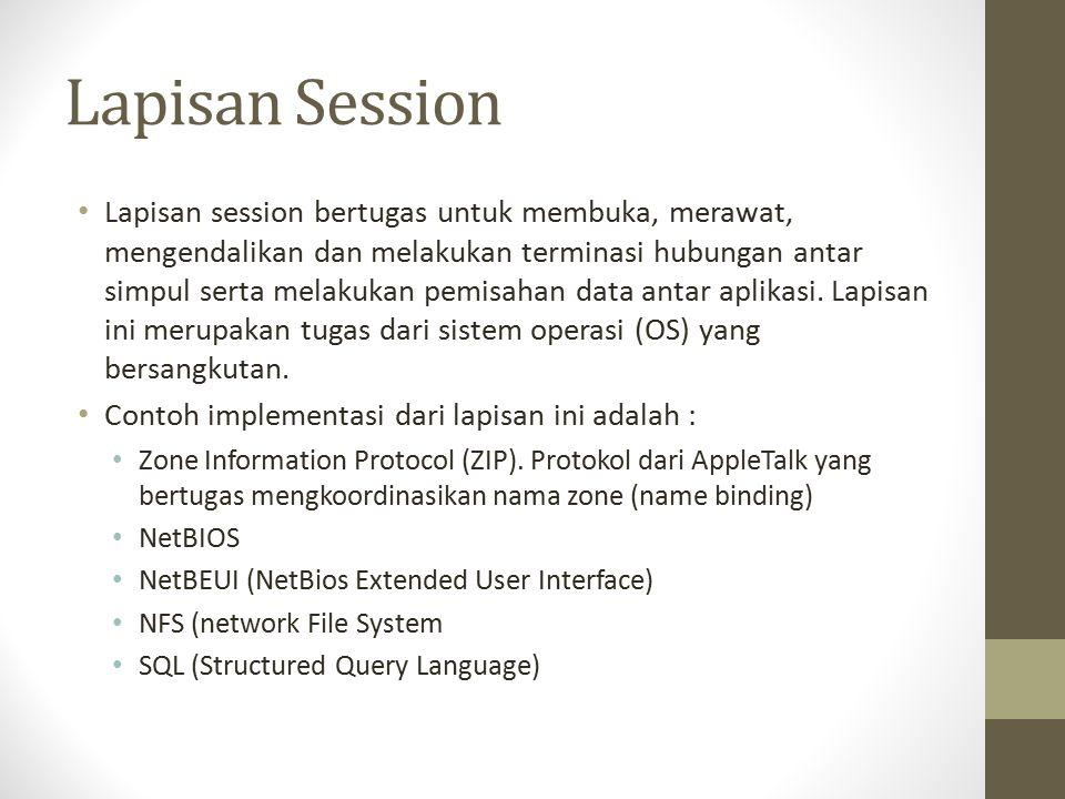 Lapisan Session Lapisan session bertugas untuk membuka, merawat, mengendalikan dan melakukan terminasi hubungan antar simpul serta melakukan pemisahan