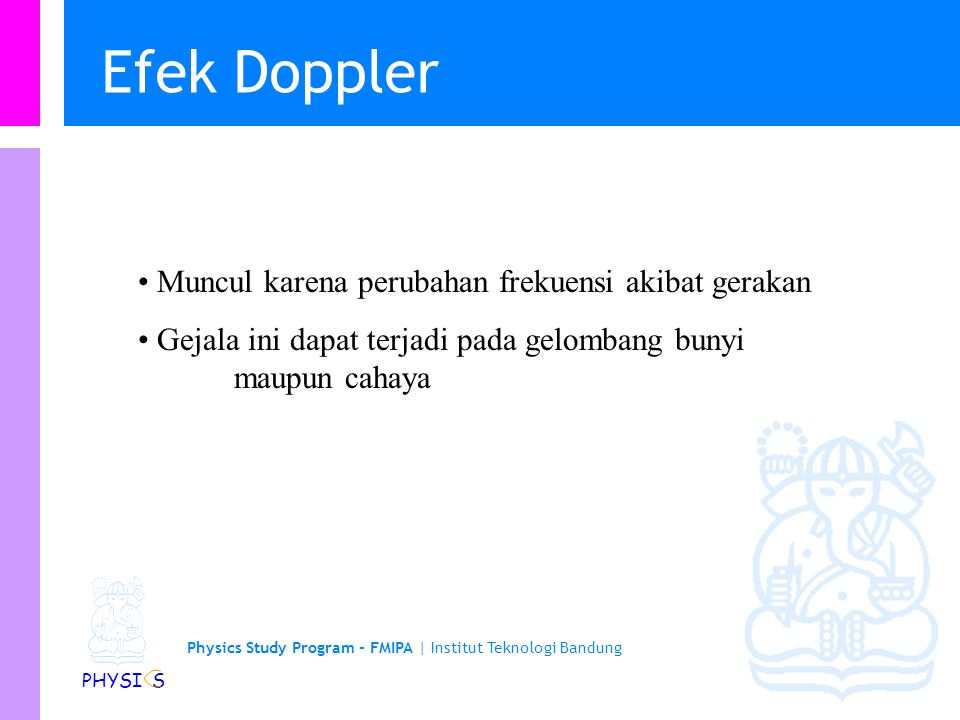 Physics Study Program Faculty of Mathematics and Natural Sciences Institut Teknologi Bandung Efek Doppler Doppler & Son