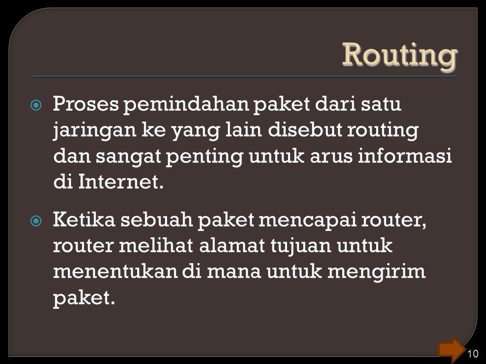  Proses pemindahan paket dari satu jaringan ke yang lain disebut routing dan sangat penting untuk arus informasi di Internet.  Ketika sebuah paket m
