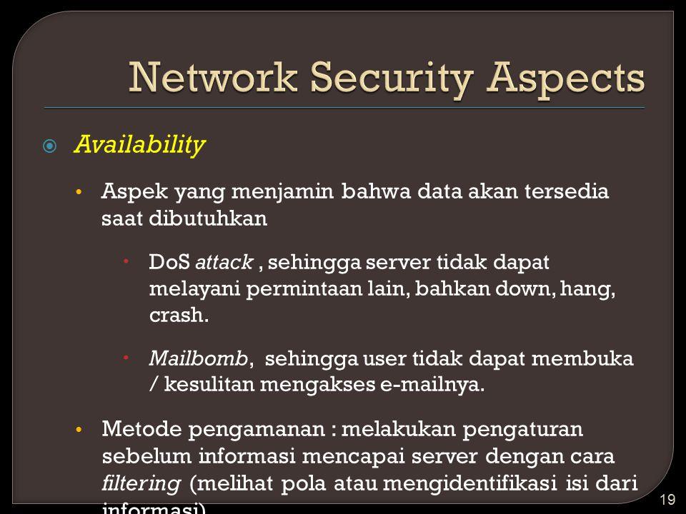  Availability Aspek yang menjamin bahwa data akan tersedia saat dibutuhkan  DoS attack, sehingga server tidak dapat melayani permintaan lain, bahkan