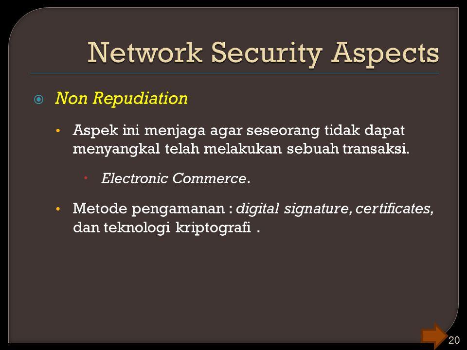  Non Repudiation Aspek ini menjaga agar seseorang tidak dapat menyangkal telah melakukan sebuah transaksi.  Electronic Commerce. Metode pengamanan :