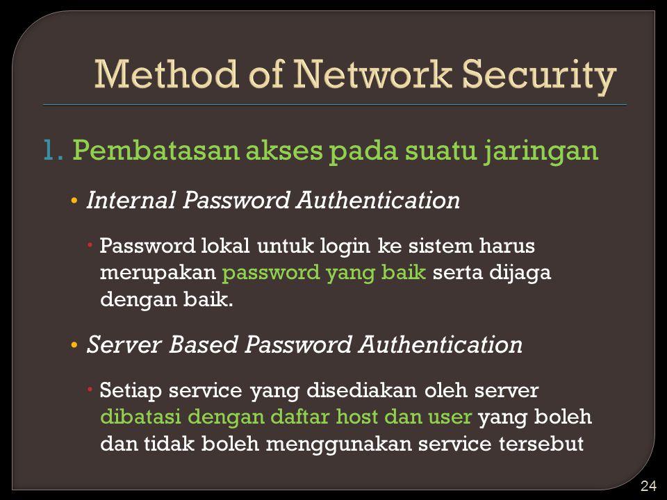 1.Pembatasan akses pada suatu jaringan Internal Password Authentication  Password lokal untuk login ke sistem harus merupakan password yang baik sert