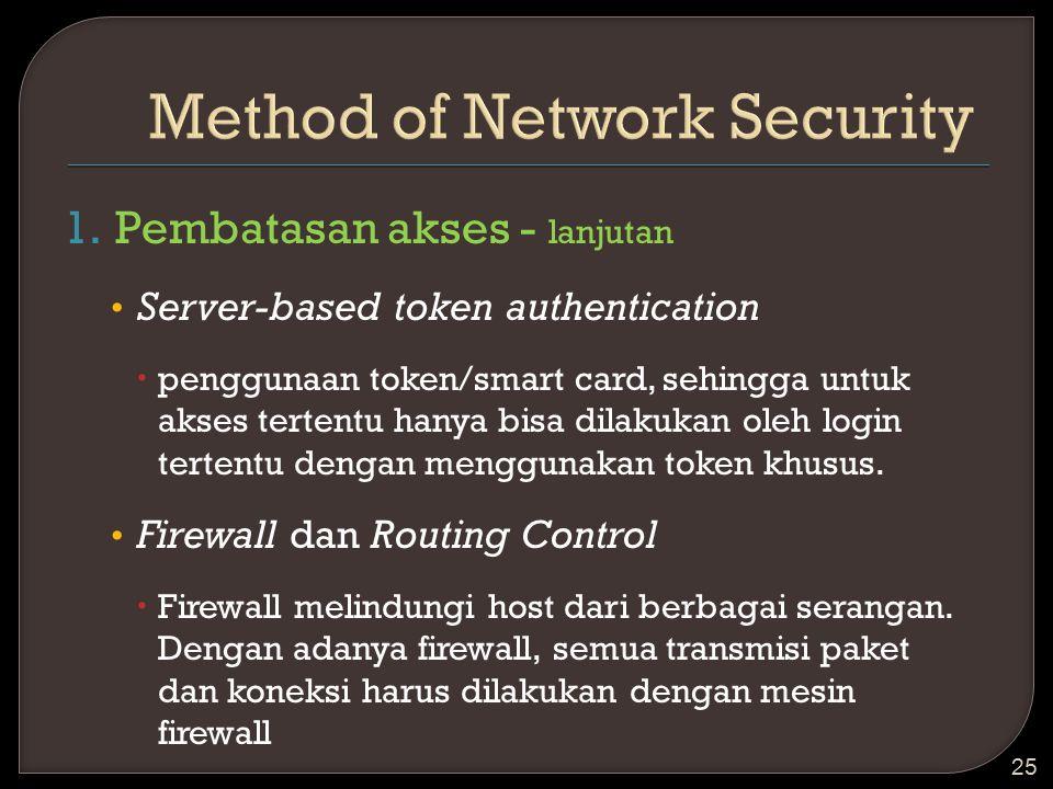 1.Pembatasan akses - lanjutan Server-based token authentication  penggunaan token/smart card, sehingga untuk akses tertentu hanya bisa dilakukan oleh