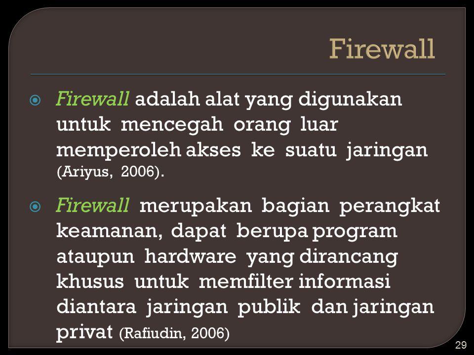  Firewall adalah alat yang digunakan untuk mencegah orang luar memperoleh akses ke suatu jaringan (Ariyus, 2006).  Firewall merupakan bagian perangk