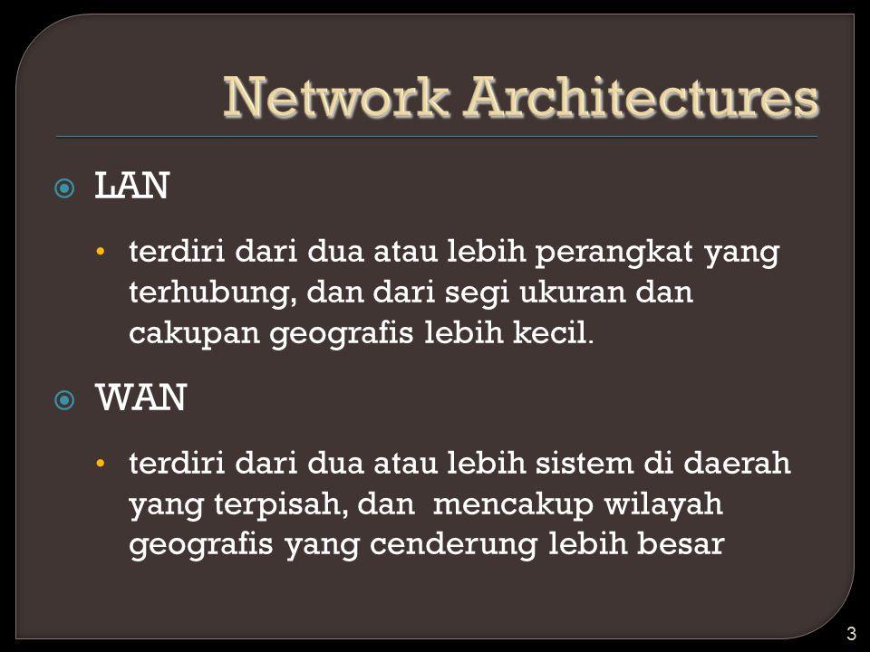  LAN terdiri dari dua atau lebih perangkat yang terhubung, dan dari segi ukuran dan cakupan geografis lebih kecil.  WAN terdiri dari dua atau lebih