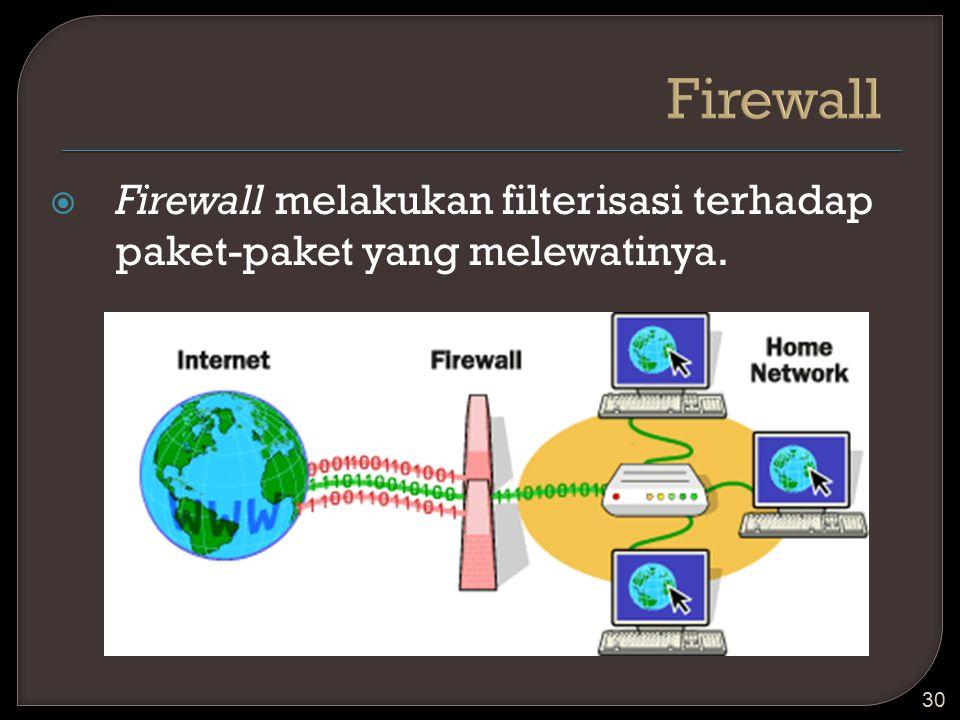  Firewall melakukan filterisasi terhadap paket-paket yang melewatinya. 30