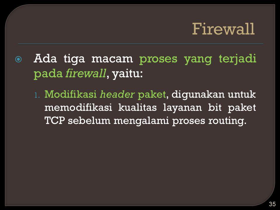  Ada tiga macam proses yang terjadi pada firewall, yaitu: 1. Modifikasi header paket, digunakan untuk memodifikasi kualitas layanan bit paket TCP seb
