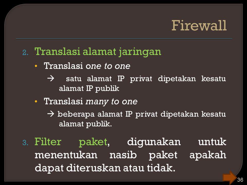 2. Translasi alamat jaringan Translasi one to one  satu alamat IP privat dipetakan kesatu alamat IP publik Translasi many to one  beberapa alamat IP