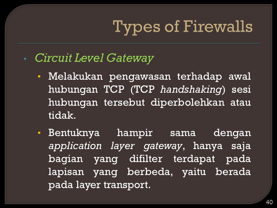Circuit Level Gateway Melakukan pengawasan terhadap awal hubungan TCP (TCP handshaking) sesi hubungan tersebut diperbolehkan atau tidak. Bentuknya ham