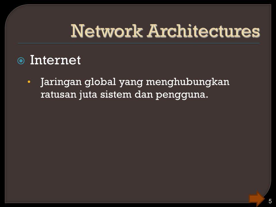  Internet Jaringan global yang menghubungkan ratusan juta sistem dan pengguna. 5