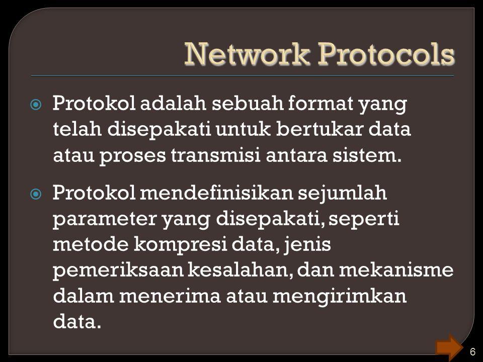  Protokol adalah sebuah format yang telah disepakati untuk bertukar data atau proses transmisi antara sistem.  Protokol mendefinisikan sejumlah para