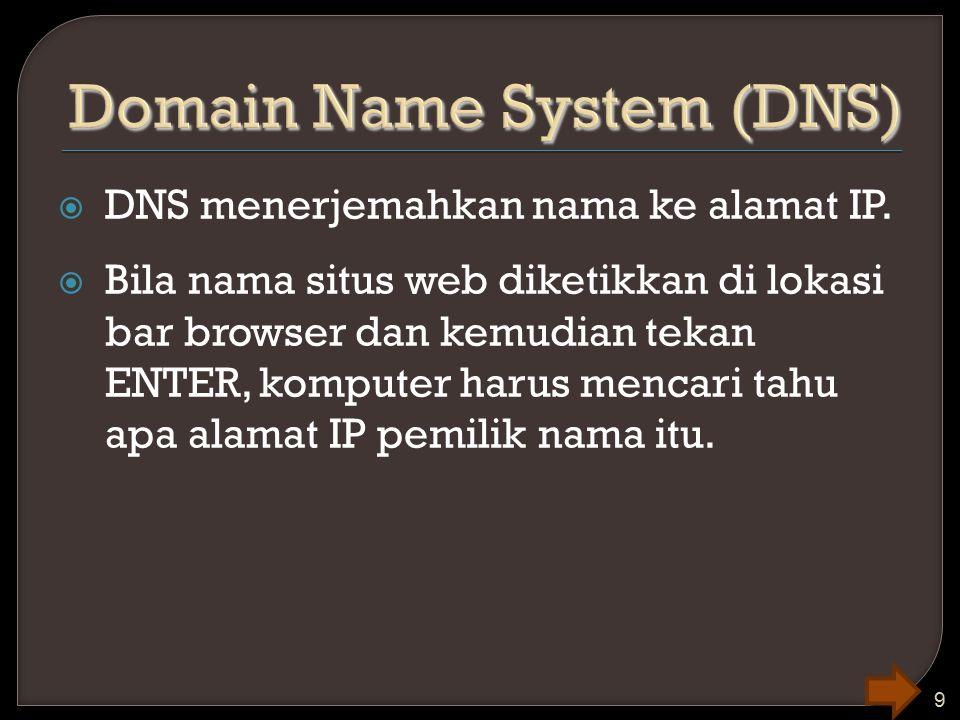  DNS menerjemahkan nama ke alamat IP.  Bila nama situs web diketikkan di lokasi bar browser dan kemudian tekan ENTER, komputer harus mencari tahu ap